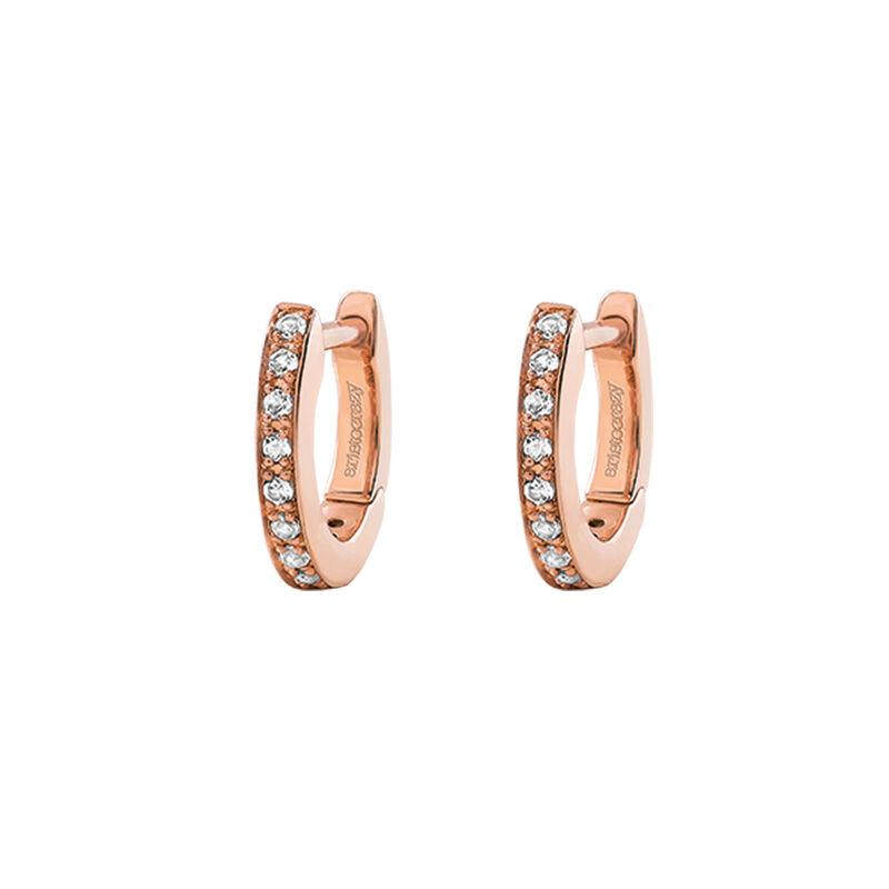 Boucles d'oreilles créoles mini topaze argent plaqué or rose, J03288-03-WT, hi-res