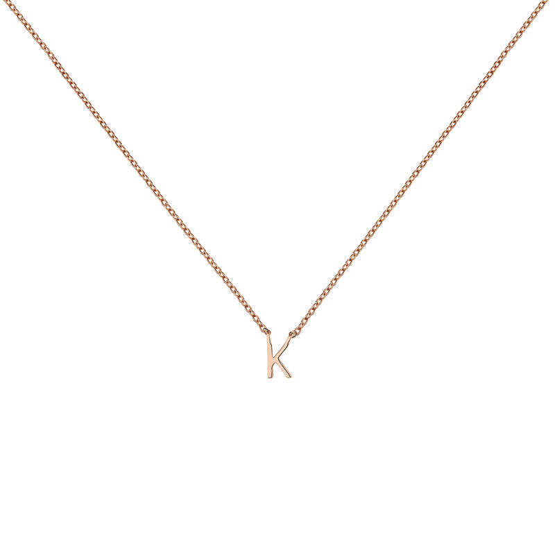 Rose gold Initial K necklace, J04382-03-K, hi-res