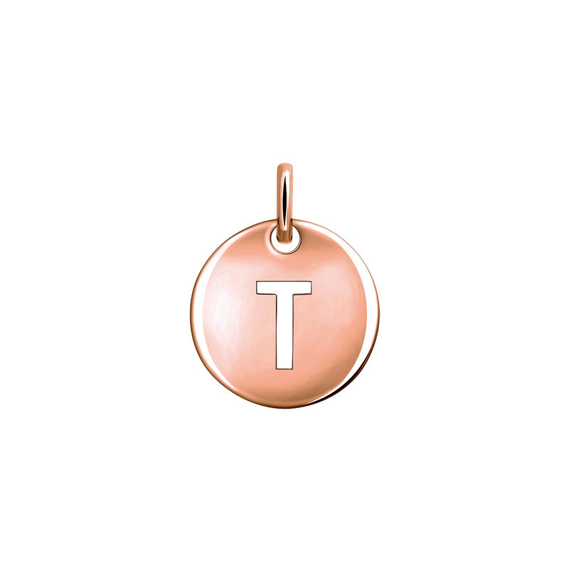Rose gold plated initial T medal necklace, J03455-03-T, hi-res