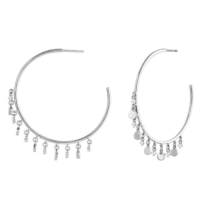 Hoop earrings pattern pendants silver, J04256-01-WT, hi-res