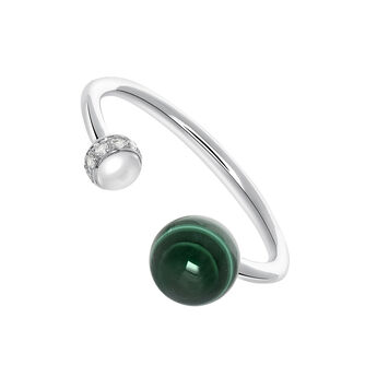 Silver You and I Malachite Ring, J03514-01-WT-MA, hi-res