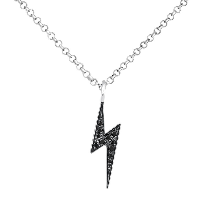 Silver spinel necklace with lightning bolt, J03638-01-BSN, hi-res