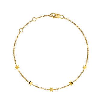 Bracelet avec mini étoiles, élaboré en or jaune de 9kt, J04012-02, hi-res