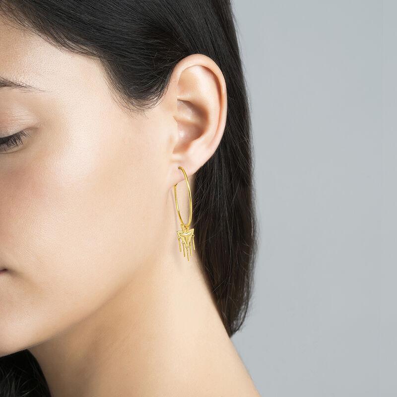 Gold plated motifs hoop earrings, J04562-02, hi-res