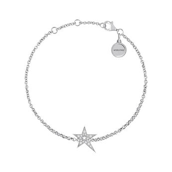 Silver hollow asymmetric star bracelet with topaz, J03974-01-WT, hi-res