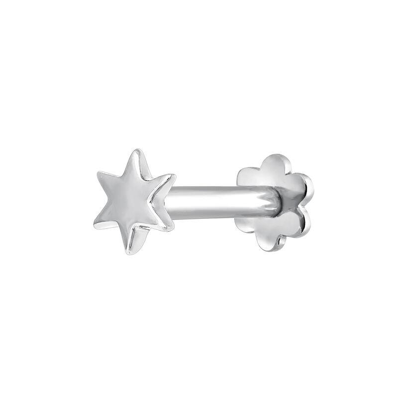 Pendiente piercing estrella oro blanco, J03834-01-H, hi-res