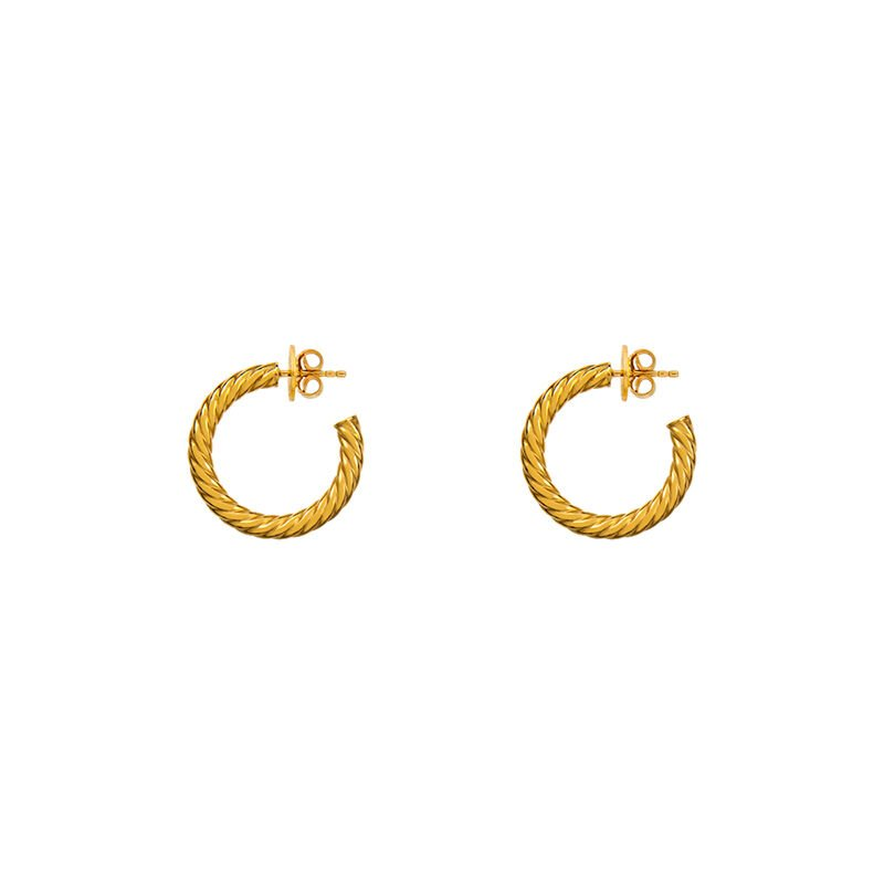 Medium gold plated cabled hoop earrings, J01588-02, hi-res