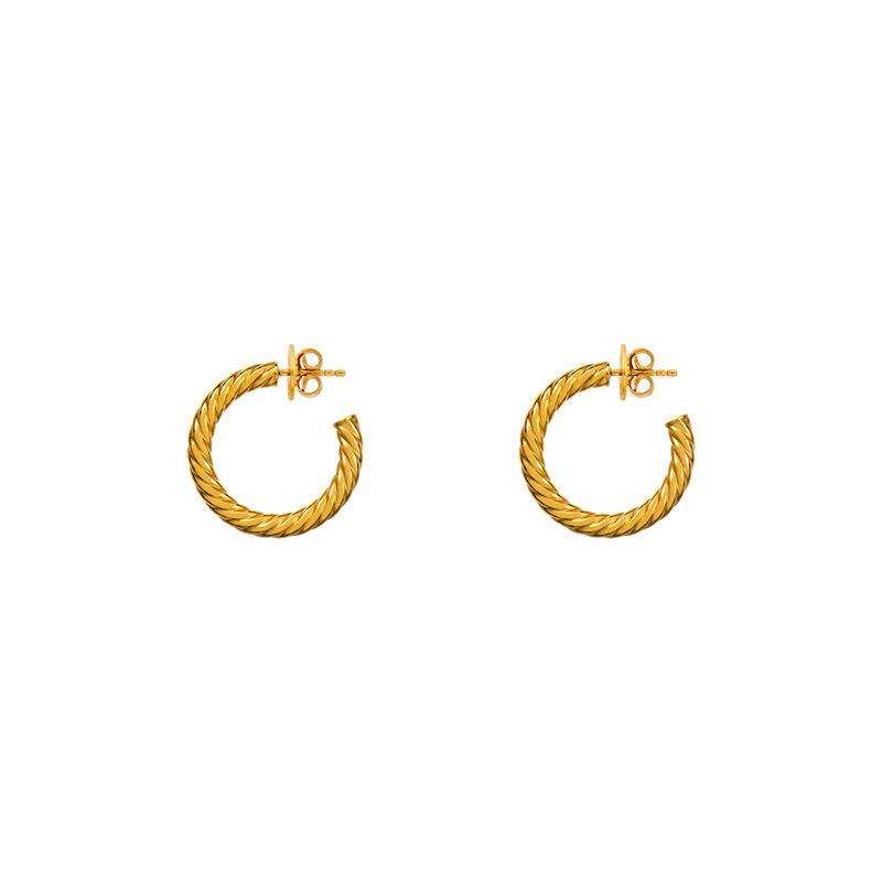 Boucles d'oreilles créoles torsadées moyennes argent plaqué or, J01588-02, hi-res