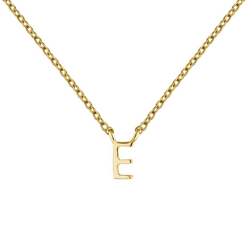 Gold Initial E necklace, J04382-02-E, hi-res