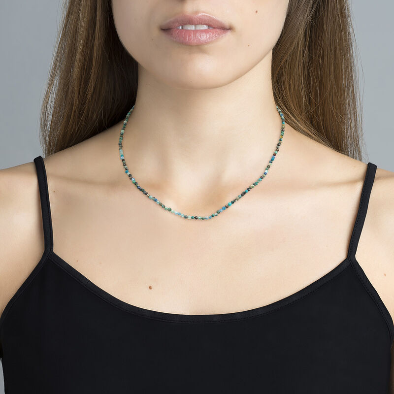 Gold plated ball chain chrysocolla necklace, J04619-02-CH, hi-res