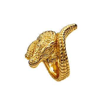 Gold plated silver crocodile ring, J00825-02-NEW, hi-res