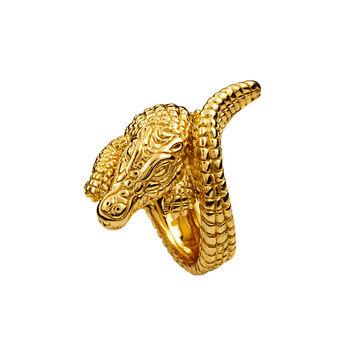 Bague crocodile argent plaqué or, J00825-02-NEW, hi-res