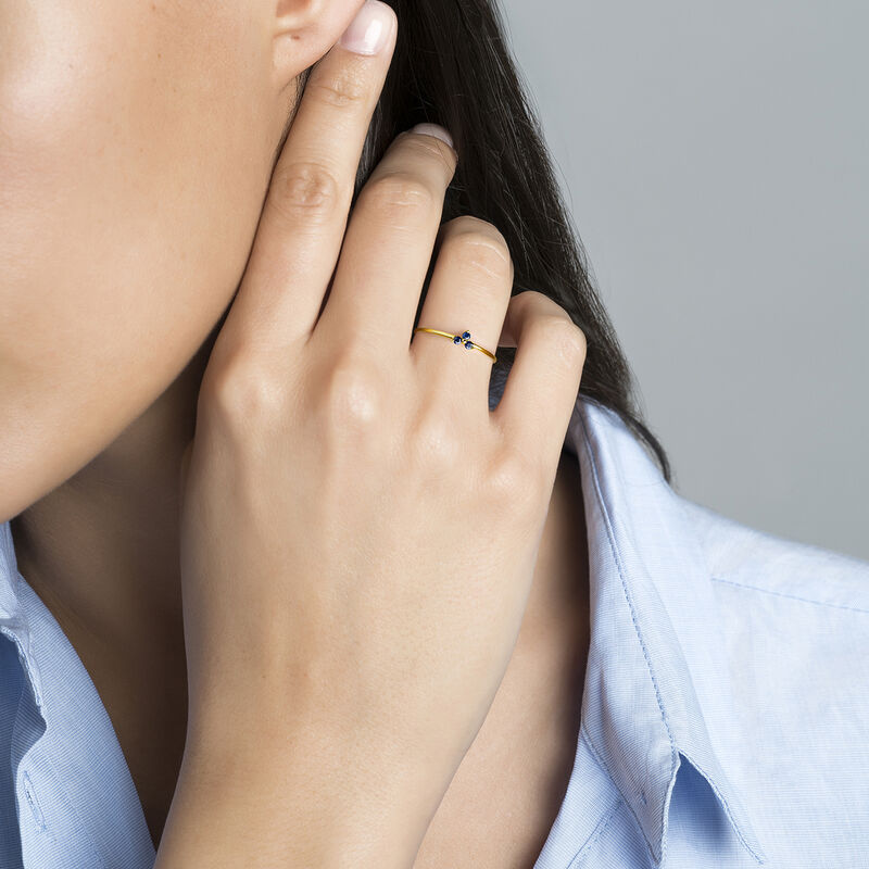 Ring clover sapphire gold, J04066-02-BS, hi-res