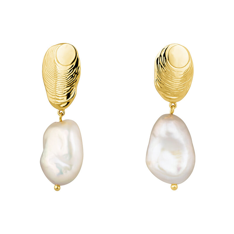 Oval gold plated earrings with baroque pearl, J04197-02-WP, hi-res