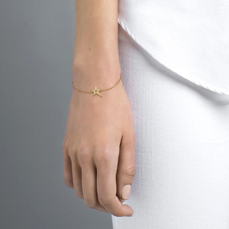 Gold hollow asymmetric star bracelet with topaz, J03974-02-WT, hi-res