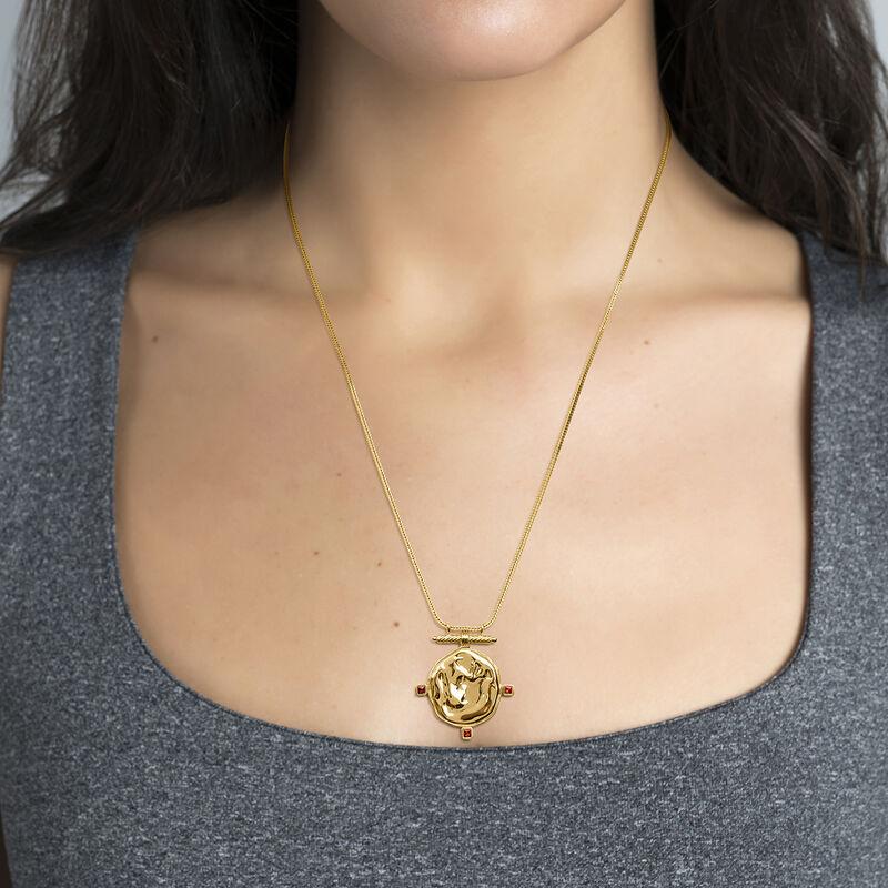 Gold plated medal necklace garnet, J04267-02-GAR, hi-res
