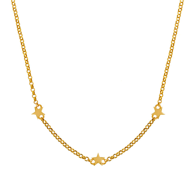 Gold plated mini stars necklace, J01900-02, hi-res