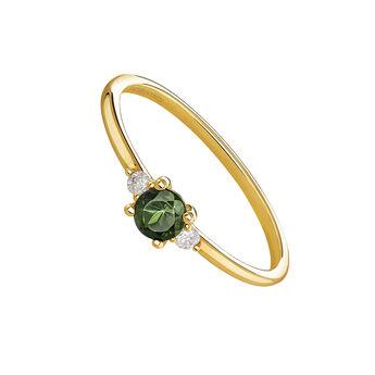 Anillo esmeralda y diamantes oro 9 kt, J04067-02-EM, hi-res