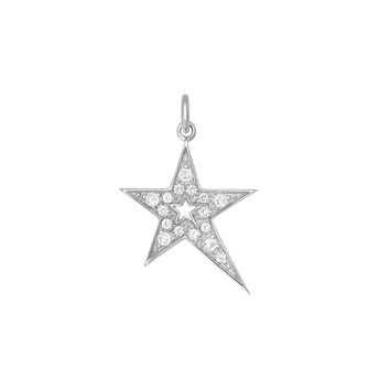 Silver hollow asymmetric star necklace with topaz, J03972-01-WT, hi-res