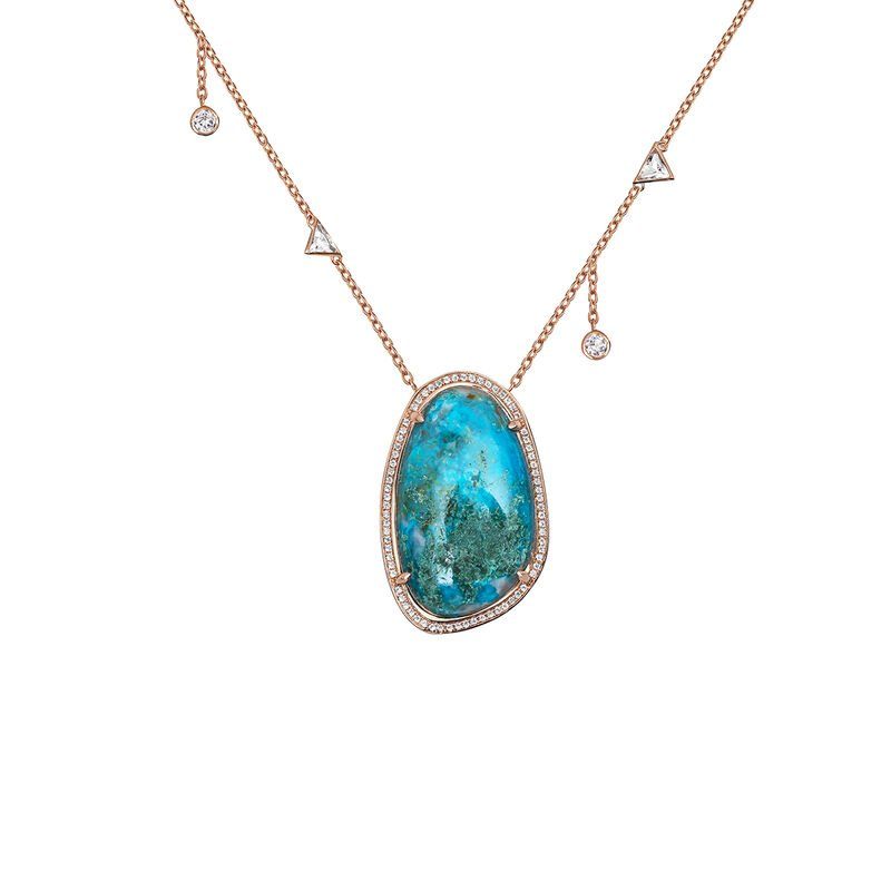 Large pink gold plated chrysocolla and topazes boho necklace, J04116-03-CH-WT, hi-res