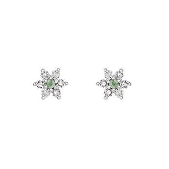 Pendientes flor zafiro verde plata, J03331-01-GS-WT, hi-res