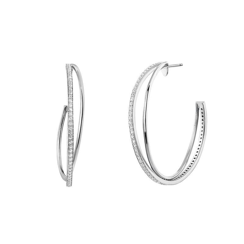 Large silver combined hoop earrings, J03665-01-WT, hi-res