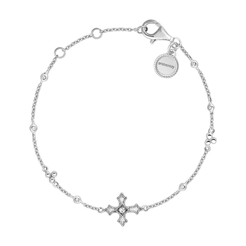 Silver bracelet with a small cross with topazes, J04234-01-WT, hi-res