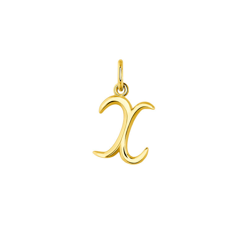 gold plated initial X necklace, J03932-02-X, hi-res
