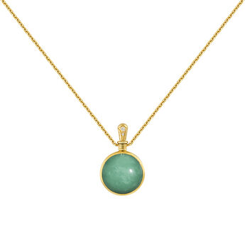 Small necklace green stone gold, J04122-02-CP-WT, hi-res