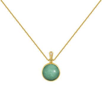 b2e9c7339e4d Collar pequeño piedra verde oro