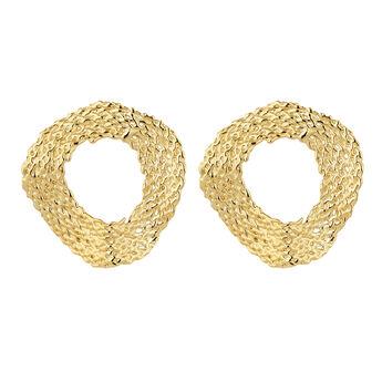 Grandes boucles d'oreilles cercle en osier plaqué or, J04417-02, hi-res