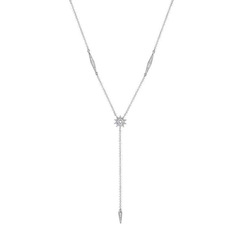 Silver Diamond and Topaz long Necklace, J03724-01-GD-WT, hi-res
