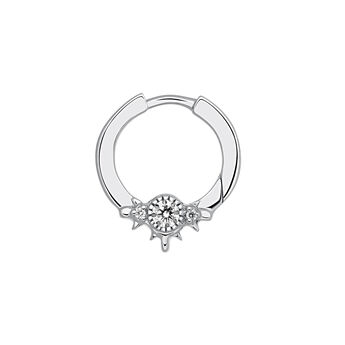 White gold hoop earring piercing with six diamonds, J03387-01-H, hi-res