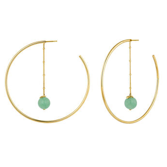 Green gold plated aventurine creole earrings, J04278-02-GAV, hi-res