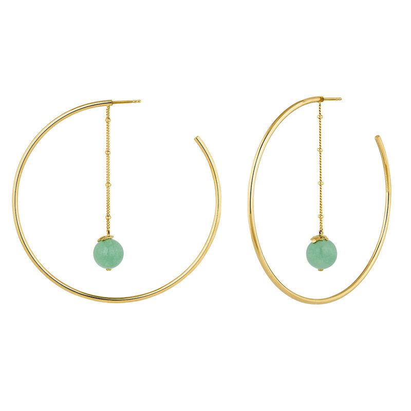 Green gold plated aventurine creole earrings, J04278-02-GAV, hi-res