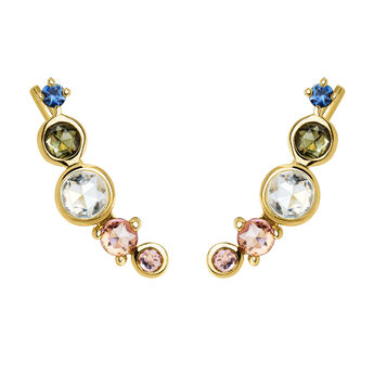 Climber earrings tourmaline gold, J04146-02-BSGTSKYPT, hi-res