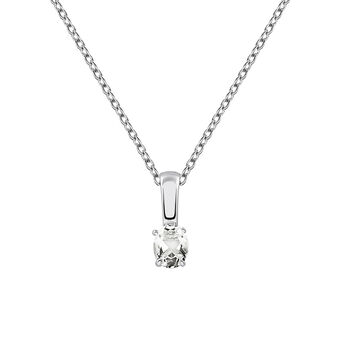 Silver necklace with white topaz, J03281-01-WT, hi-res