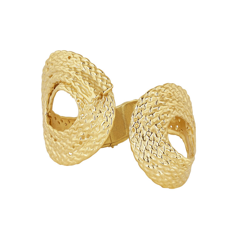 Gold plated wicker rigid bracelet, J04419-02, hi-res