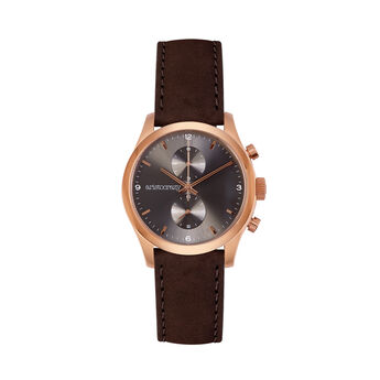 Moustique chrono watch brown strap grey face, W37A-PKPKGR-LEBR, hi-res
