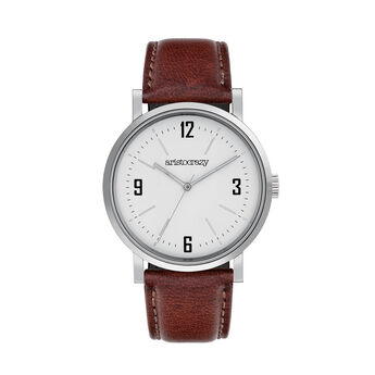 Brooklyn watch strap white face , W0045Q-STWH-LEBR, hi-res