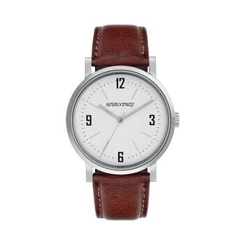 Brooklyn watch strap white face , W45A-STSTWH-LEBR, hi-res