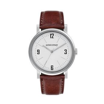 Montre Brooklyn bracelet cuir cadran blanc, W45A-STSTWH-LEBR, hi-res