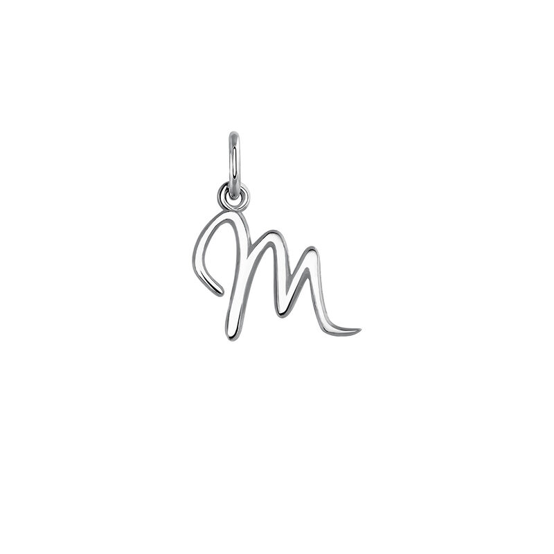 Silver letter M necklace, J03932-01-M, hi-res