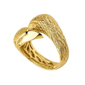 Anillo doble águila plata recubierta oro, J04549-02, hi-res