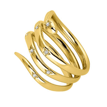 Gold snake ring with topazes, J04196-02-WT, hi-res