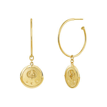 Gold coin hoop earrings, J03594-02, hi-res
