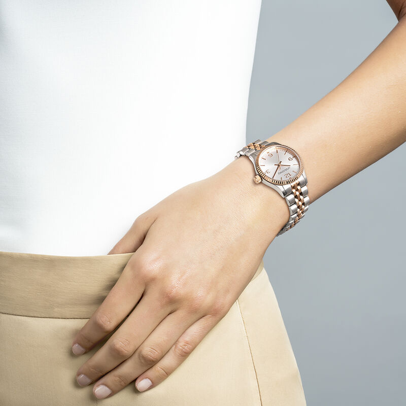 St. Barth Mini watch two-tone bracelet with grey face, W30A-STPKGR-AXMX, hi-res