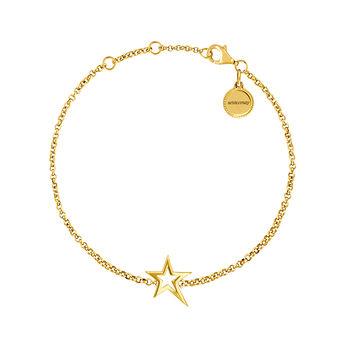 Pulsera estrella hueca asimétrica oro, J03792-02, hi-res