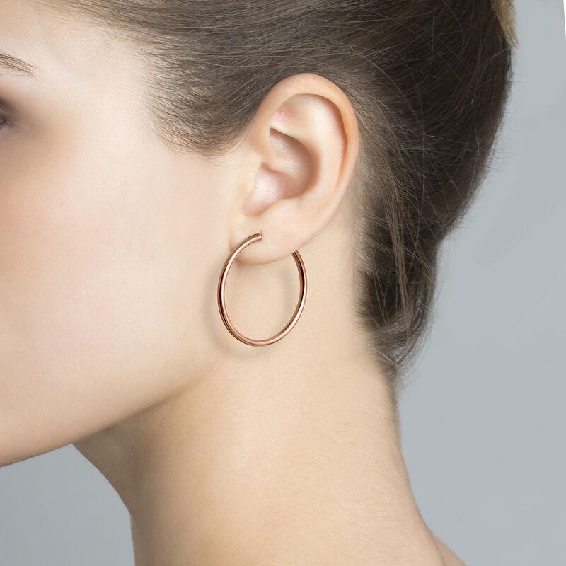 Large rose gold hoop earrings, J01591-03, hi-res