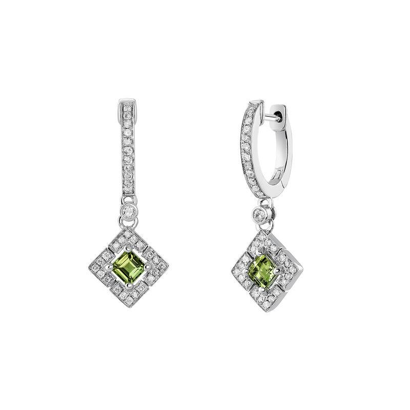 Silver square hoop earrings with green tourmaline and diamond, J03768-01-GTU, hi-res